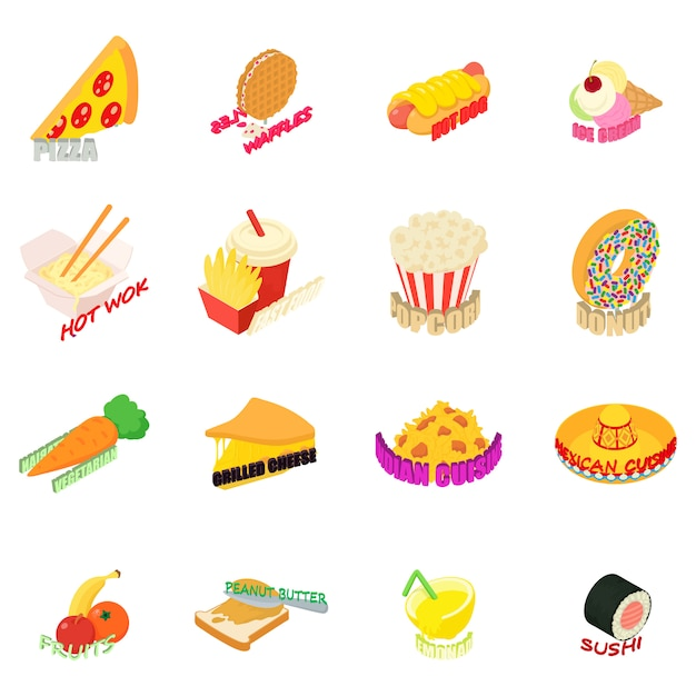 Country cuisine icon set Premium Vector
