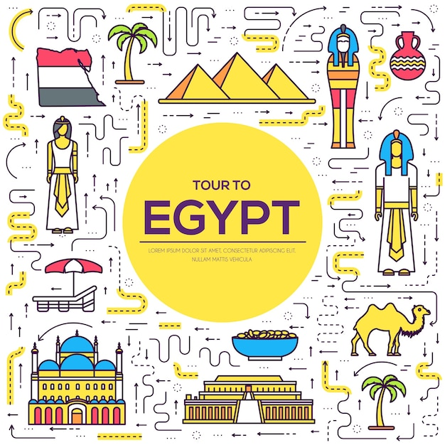 商品のエジプト旅行休暇ガイド Premiumベクター