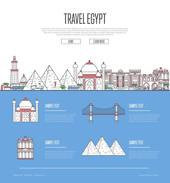 Country egypt travel vacation guide web template Premium Vector