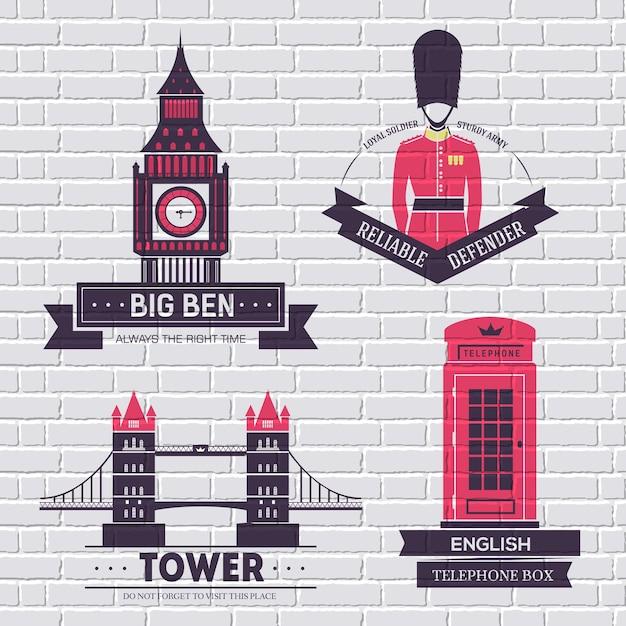 Шаблон этикетки страны англия элемента эмблемы для вашего продукта или дизайна Premium векторы