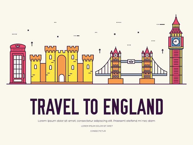 Страна англия путешествия отпуск по месту и особенностям Premium векторы