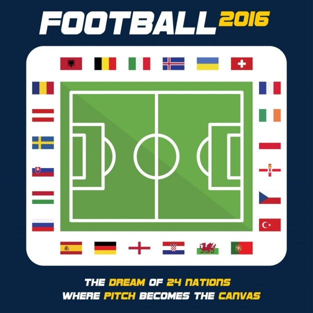 Country flag around the ground euro cup Free Vector