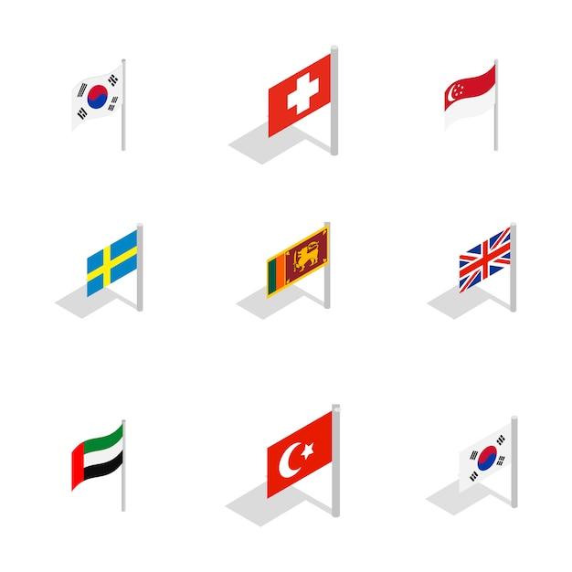 Country flag icon set on white background Premium Vector