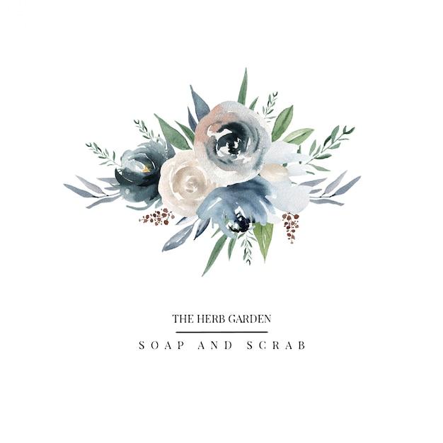 Country flowers logo Premium Vector