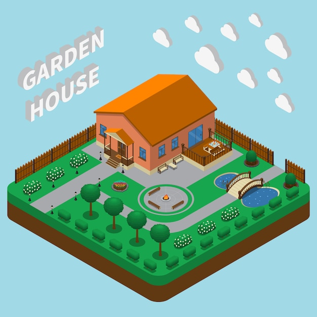 Country house isometric Free Vector