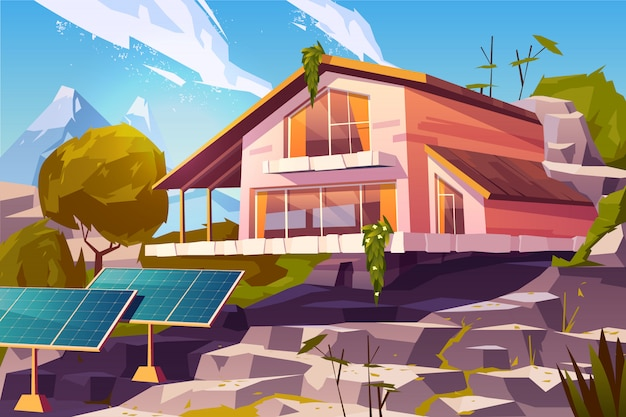 Country house in mountains cartoon Free Vector