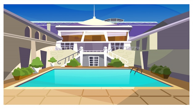 Country house with swimming pool\ illustration