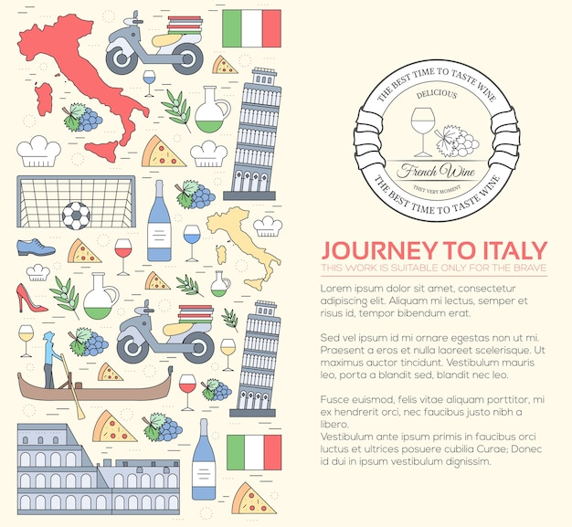国イタリア旅行休暇ガイドグッズ Premiumベクター