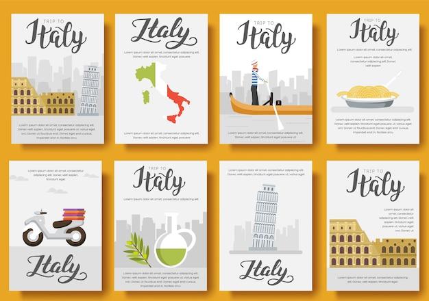 国イタリア旅行休暇ガイド。建築、ファッション、人、アイテム、自然の概要のセット。 Premiumベクター