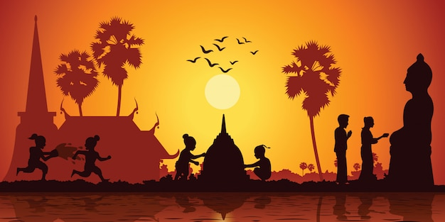 Country life of asia children play water Premium Vector