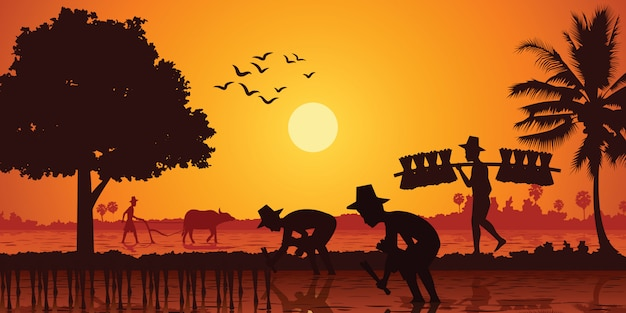 Country life of asia farmer plant rice Premium Vector