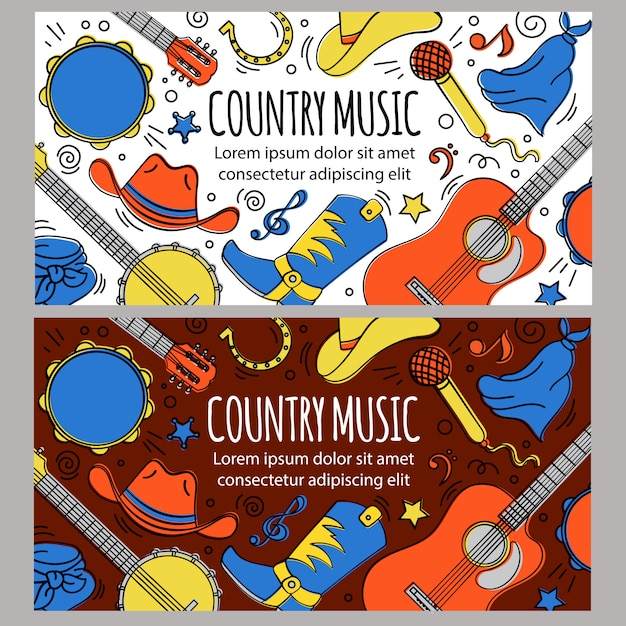 Country music banner template western festival Premium Vector