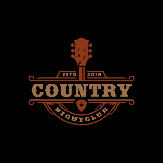 Country music bar typography logo design Premium Vector
