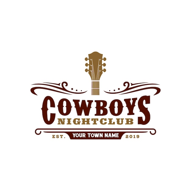 Country music bar typography logo design Premium Vector