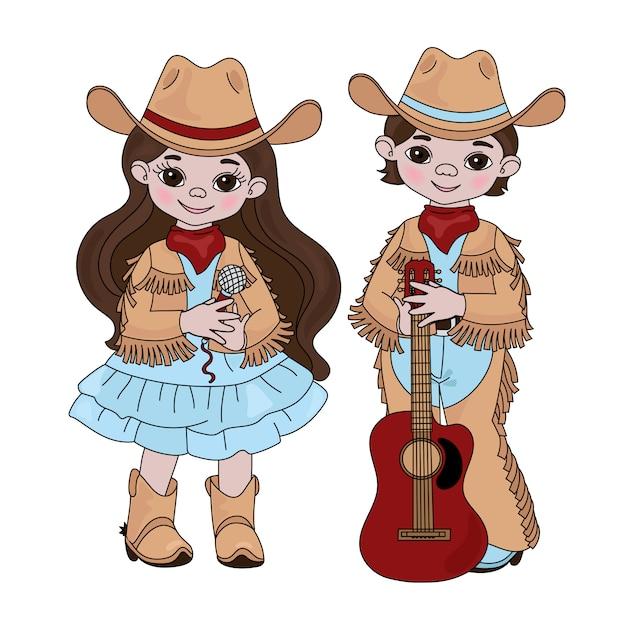 Country music friendsカウボーイウエスタン Premiumベクター