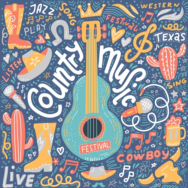 Country music illustration set for postcards or festival banners Premium Vector