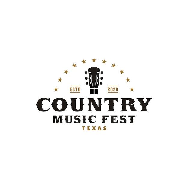 Country music western retro logo template Premium Vector