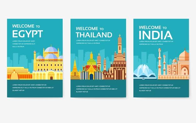 エジプト、オーストリア、ドイツ、インド、ロシア、タイ、日本、イタリアの国のカードセット。 Premiumベクター