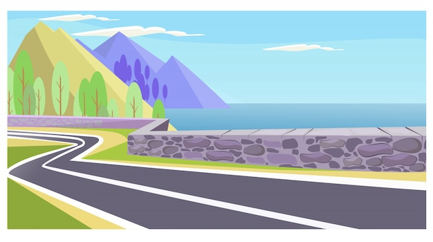 Country road at sea and mountains illustration Free Vector