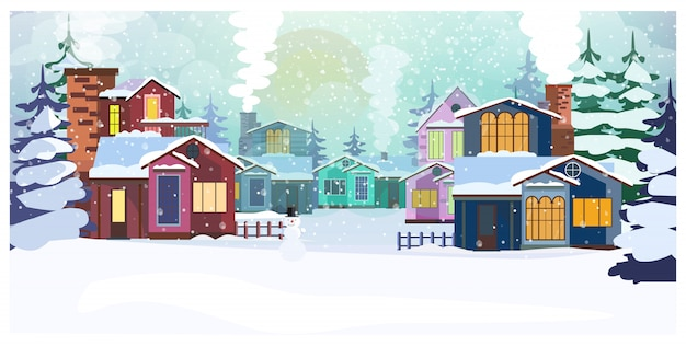 Country scene with cottages and fir-trees\ illustration