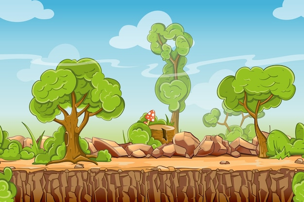 Country seamless landscape in cartoon style. nature panorama, green tree outdoor, vector illustration Free Vector
