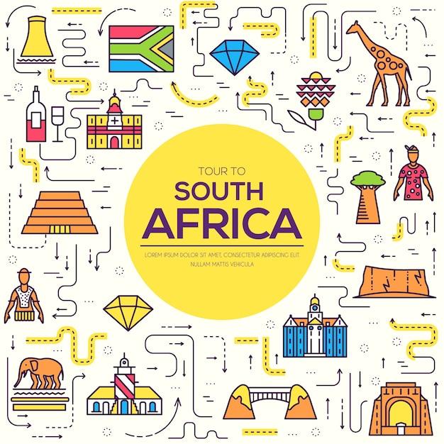 Страна южная африка путешествия отпуск по месту и особенностям Premium векторы