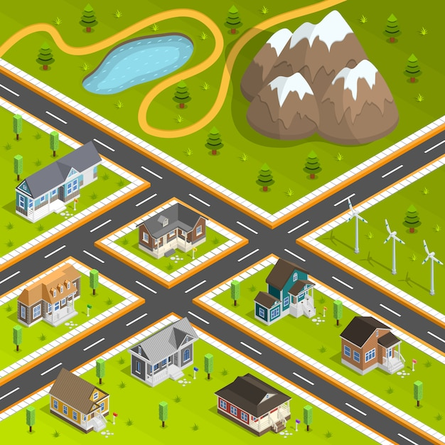 Country town buildings composition Free Vector
