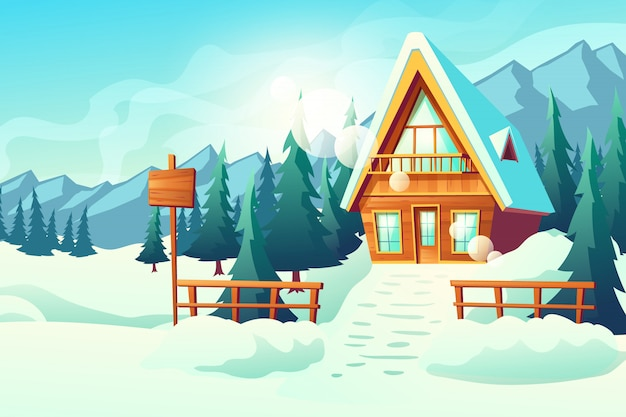 Country or village cottage house in snowy mountains cartoon Free Vector