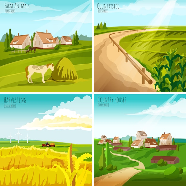 Countryside 4 flat pictograms square composition Free Vector