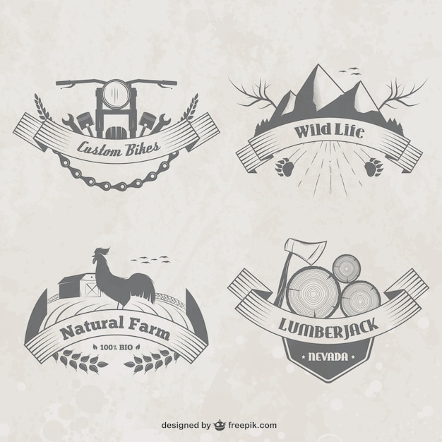 Countryside badges Free Vector