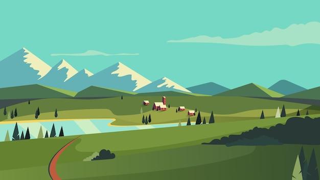 Countryside beautiful landscape design Premium Vector