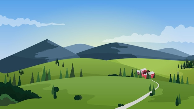 Countryside beautiful landscape Free Vector
