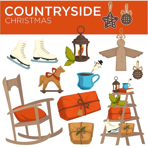 Countryside christmas winter holiday elements, symbols of celebration Premium Vector