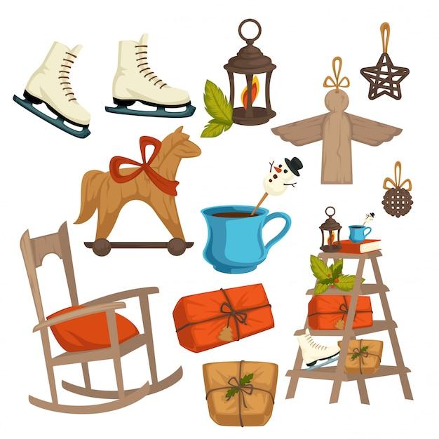 田舎のクリスマス冬の休日の要素、お祝いのシンボル Premiumベクター