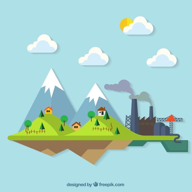 Landscape Illustration Vector Free: Countryside Colourful Landscape Illustration Vector