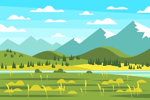 Сельская местность плоский весенний пейзаж Premium векторы