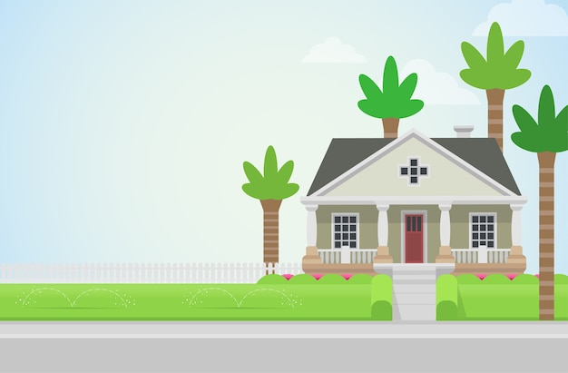 Countryside house church with palms on green lawn concept architecture  elements build your world collection Free Vector