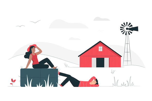 Countryside illustration concept Free Vector