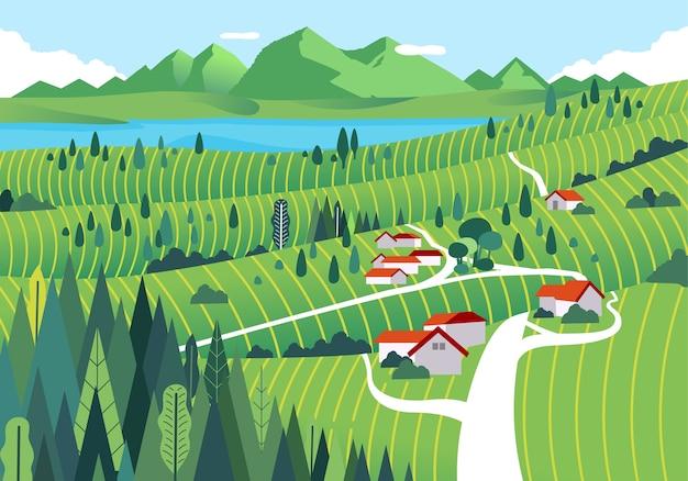 家、湖、森、広大な緑の野原がある山の田園地帯 Premiumベクター