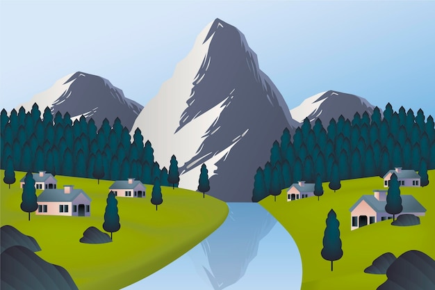 Countryside landscape concept Free Vector