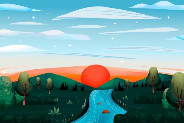 田舎の風景のコンセプト 無料ベクター
