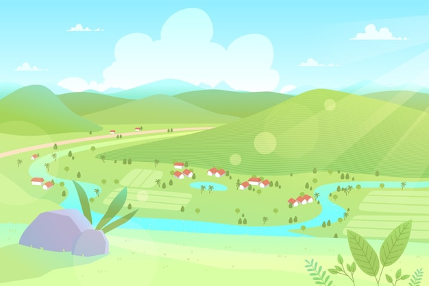Countryside landscape illustration concept Free Vector