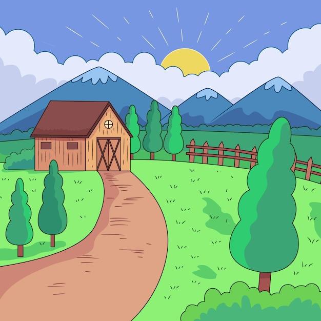 Сельский пейзаж иллюстрация Бесплатные векторы