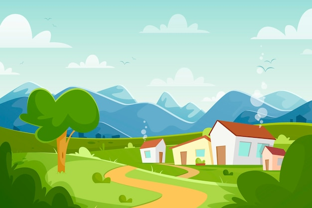 Countryside landscape illustration Free Vector