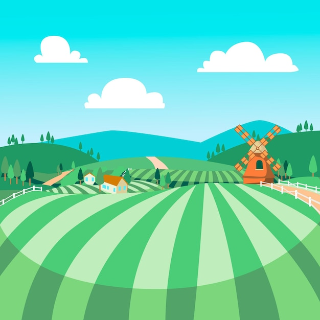 Countryside landscape illustration Free Vector