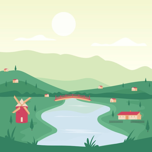 Countryside landscape theme Free Vector