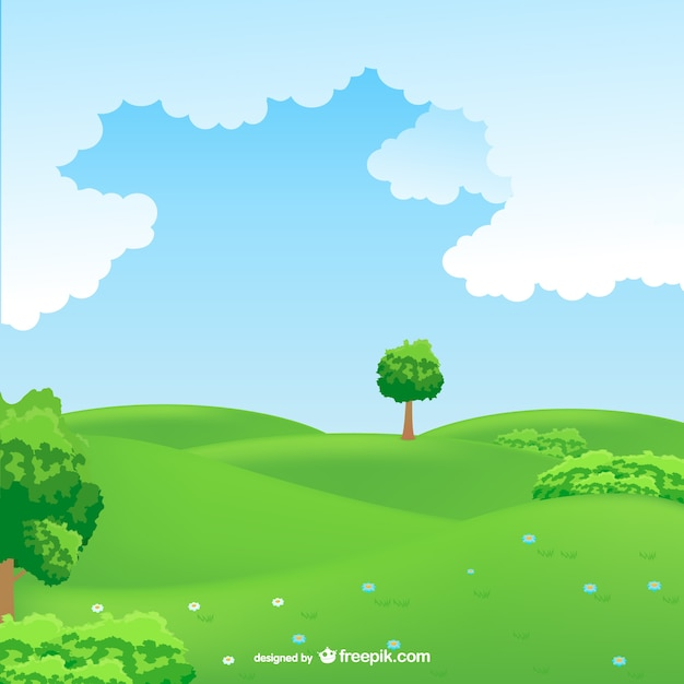 Field Landscape Vector Countryside Landscape Vector