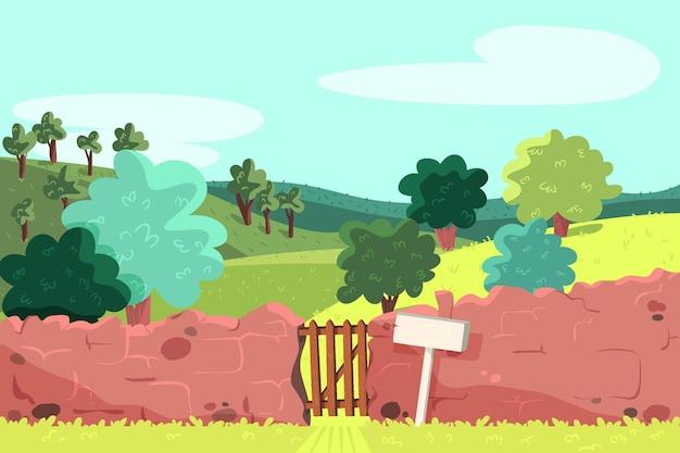 Paesaggio di campagna con recinzione in mattoni Vettore gratuito