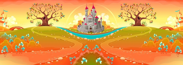 Countryside landscape with castle in the sunset Premium Vector