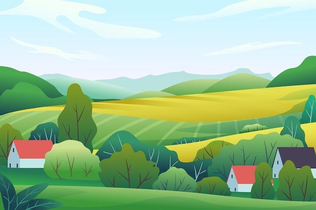 필드와 언덕 시골 풍경 프리미엄 벡터